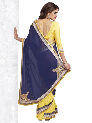 Yellow and blue party wear fancy saree