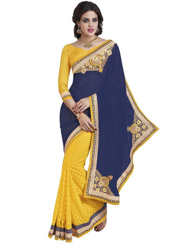 Saree Navy Blue , Yellow,Georgette