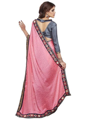 Pink and grey crepe saree