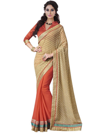 Beige and Orange Saree