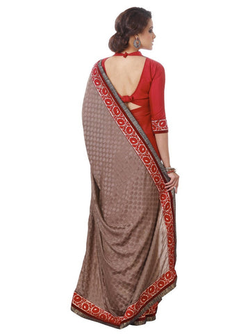Brown and red jacquard saree