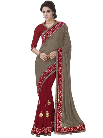 Saree Brown , Red,Jacquard
