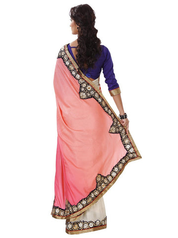 Pink and off white jacquard saree