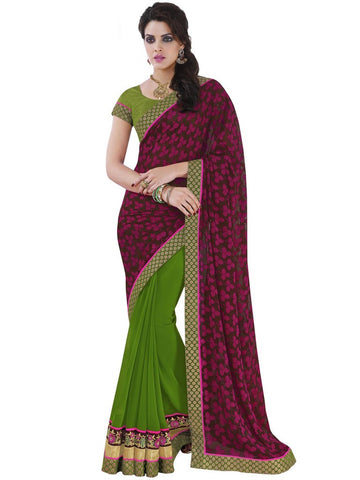 Saree Red , Green,Jacquard Brasso