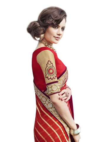 Georgette,Red , Beige,party wear designer saree