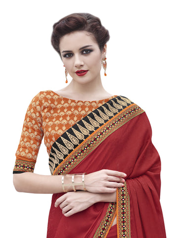 Crepe Jacquard,Red,party wear designer saree