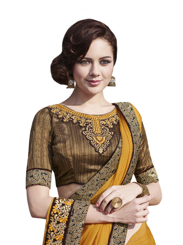 Satin Jacquard,Yellow,party wear designer saree