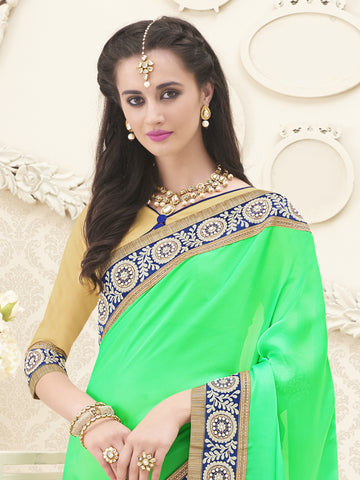 Green and Beige,Satin Chiffon,Designer party wear saree
