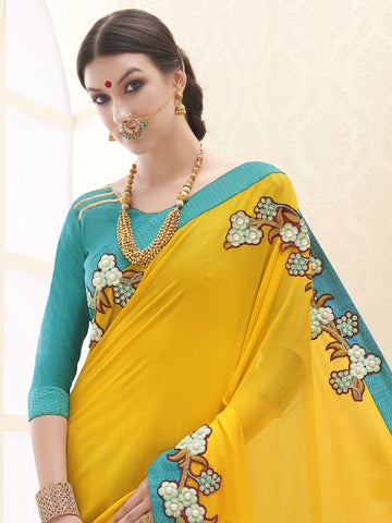 Yellow and Cyan,Crape,Designer party wear saree