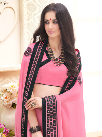Pink,Satin Chiffon,Designer party wear saree