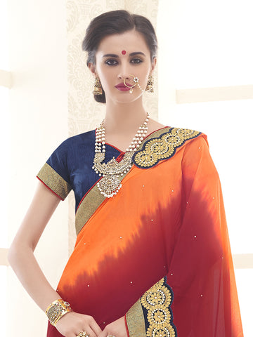 Multi,Chinnon,Designer party wear saree