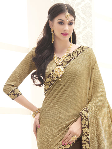 Gold and Brown,Knitted,Designer party wear saree