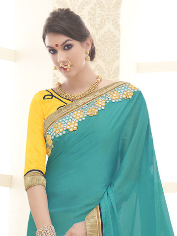 Cyan and Yellow,Satin Chiffon,Designer party wear saree