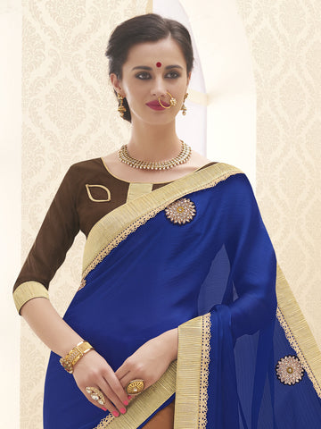 Blue and Orange,Satin Chiffon,Designer party wear saree