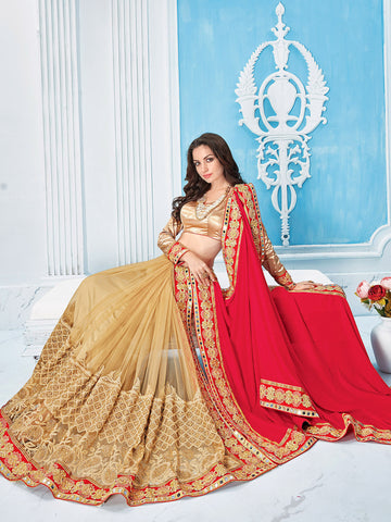 Red , Beige,Satin Chiffon , Net,Party wear designer saree
