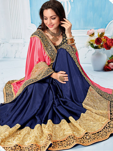Pink , Blue,Satin Chiffon , Net,Party wear designer saree