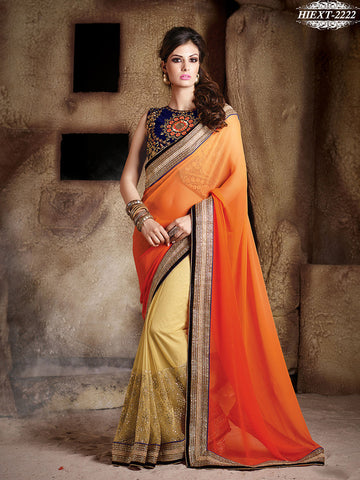 Saree Orange , Beige,Net , Georgette