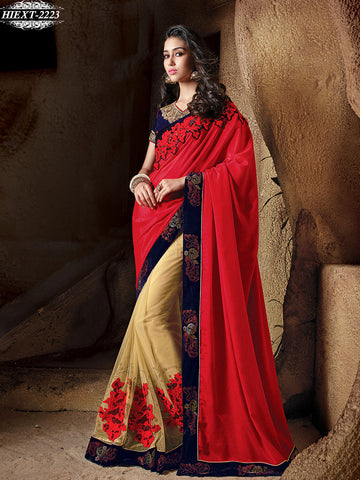 Saree Red , Beige,Net , Chiffon