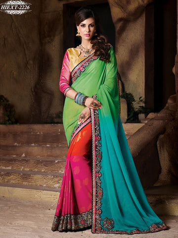 Saree Multicolour,Foux Georgette , Chiffon