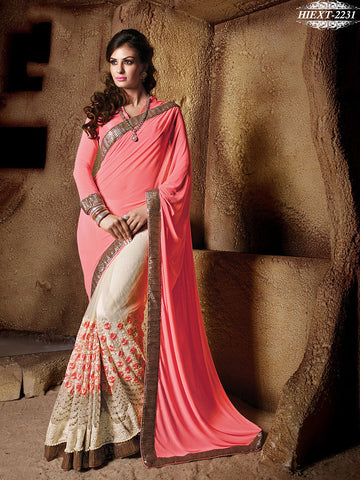 Saree Pink , Cream,Net , Georgette