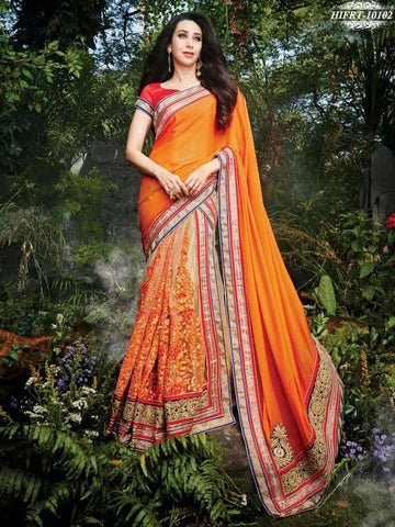 Orange,Net,Designer wedding saree with heavy embroidery work