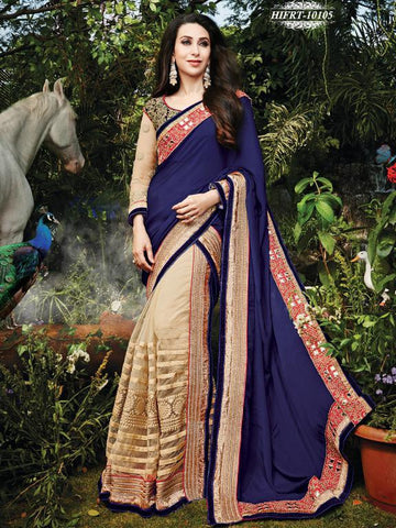 Blue , Beige,Net,Designer wedding saree with heavy embroidery work