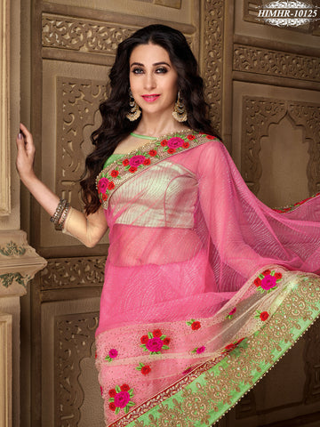 Pink , Beige,Net,Heavy party wear designer saree