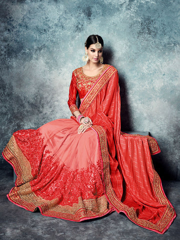 Pink,Chiffon , Net,party wear designer saree