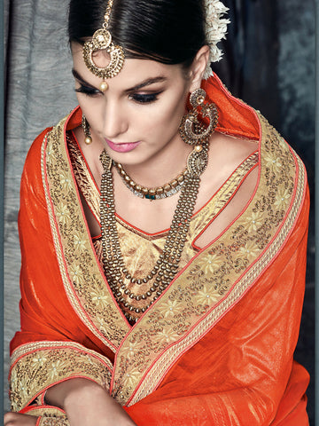 Orange , Beige,Satin Chiffon , Net,party wear designer saree