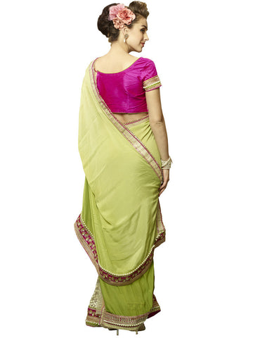 Lime Green and magenta  Chiffon and Net Saree with work