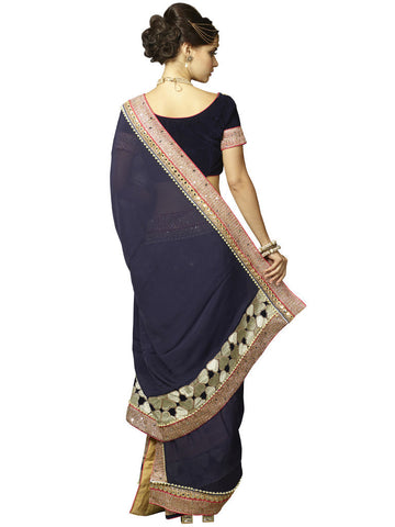Violet and Off White Satin silk and velvet Saree with Work