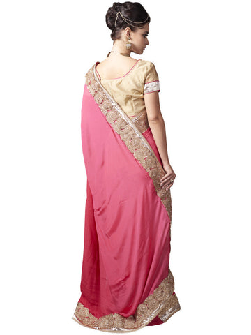 Pink and Golden Satin Chiffon Saree with Raw Silk Blouse