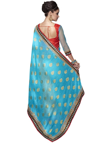 Turquoise and Yellow Viscose Saree