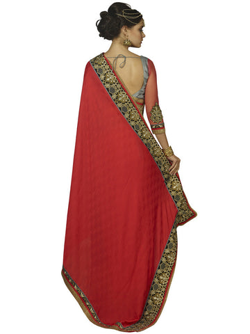 Red and Grey Saree with heavy border