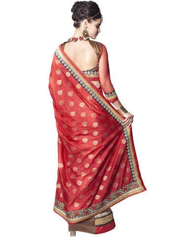 Red and Brown Silk Jacquard Heavy Border Saree