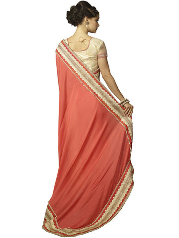 Pink and Offwhite net Saree with Embroidery