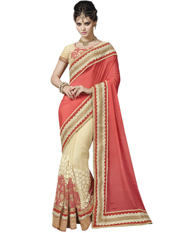 Saree Pink , Off White,Silk