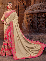 Beige & Red Designer Saree With Red Blouse
