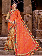 Orange & Beige Saree With Red & Beige Blouse