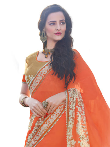 Orange,Georgette,Designer party wear saree with designer blouse