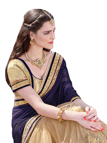 Violet , Beige,shimmer,Designer party wear saree with designer blouse