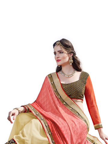 Pink , Beige,Silk Jacquard,Designer party wear saree with designer blouse