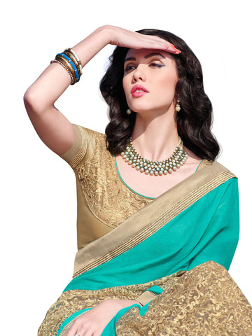 Cyan,Chiffon , Net,Designer party wear saree with designer blouse