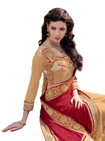 Maroon , Beige,Satin Chiffon,Designer party wear saree with designer blouse