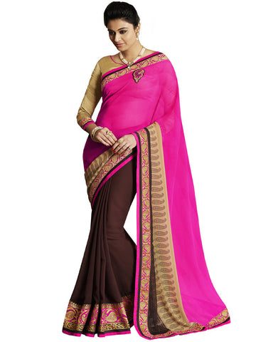 Saree Pink , Brown,Georgette