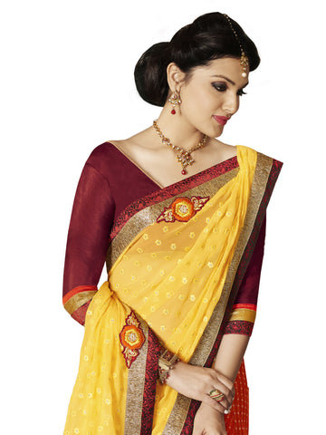Yellow and Orange georgette work saree with maroon blouse