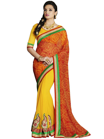 Saree Red , Yellow,Georgette