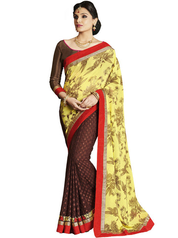 Saree Yellow,Georgette Jacquard