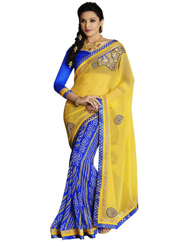 Saree Yellow,Georgette Bandhani Print
