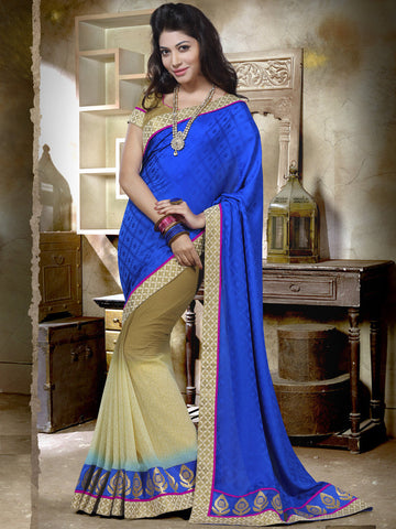 Blue and beige Saree